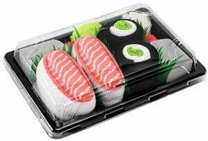 idea regalo amanti sushi, calzini a forma di sushi