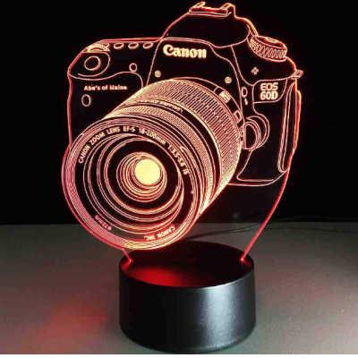 lampada a led 3d a forma di reflex idea regalo fotografi