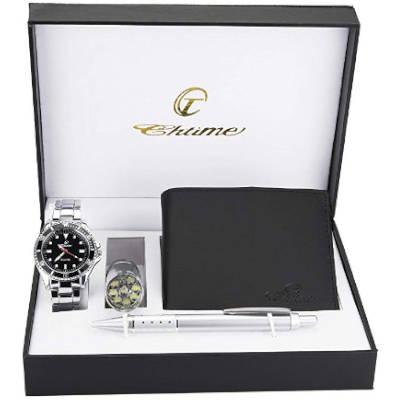 idea regalo pensione capo, cofanetto orologio e portafoglio