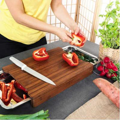 idea regalo amanti cucina tagliere con cassetti