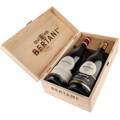idea regalo per amanti vino cassetta con due bottiglie pregiate