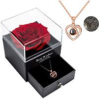 idea regalo 30 anni matrimonio per per lei, rosa eterna con collana ti amo