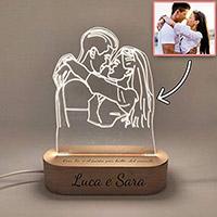lampada personalizzata 3D idea regalo donna 30 anni matrimonio
