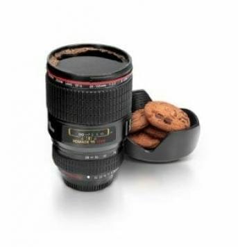 idea regalo per fotografi, tazza teleobiettivo